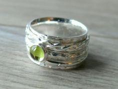 Silver Peridot ring Fidget ring gemstone Spinning by WatchMeWorld  Pretty.
