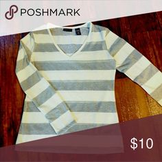 Ladies Top New York and Company  Beautiful cream and silver metallic stripe top V-neck, Long Sleeve Light Weight Top Machine Washable Tumble Dry Low 73% cotton,  27% metallic  Excellent Used Condition New York & Company Tops Tees - Long Sleeve