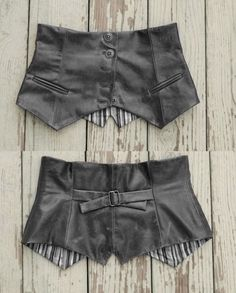 Leather waist cincher. Repurposed from a leather vest! Cute!
