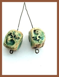 Chunky Stoneware Headpins, Ceramic Jewelry Components, Handcrafted Clay Earring Components, Primitive Rustic Earring Beads, Artisan Jewelry