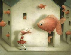 Evidently Goldfish by Nicoletta Ceccoli  |  http://www.livingdesign.info/2010/07/22/nicoletta-ceccoli-and-her-wonderland/