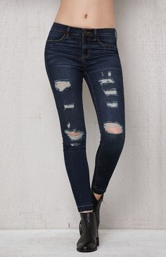 Dark Dreamy Ripped Ankle Jeggings
