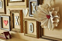 everyday lovely: an old book, a sparkly heart and a fancy picture frame....