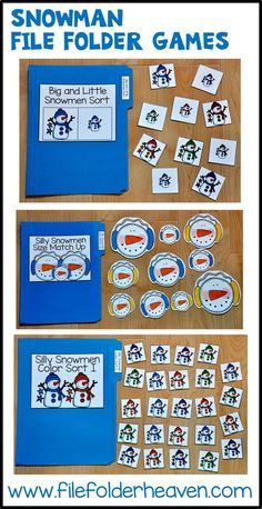 This Snowman File Folder Games Mini-Bundle focuses on basic matching and sorting skills.    This set includes nine unique file folder games with three bonus games for differentiation (for a total of 12 games!) These activities  focus on basic skills, such as matching picture to picture, matching shapes, matching numbers, matching letters, matching by size, sorting by size, sorting by color, and sorting by likeness and differences.