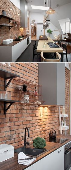 This Contemporary Loft Apartment Was Built Inside A Century Building Throughout the apartment there are bright white walls, touches of brick and wood, which all pair nicely with the wood and dark charcoal gray tiled flooring. Brick Kitchen, Interior, Kitchen Wall Tiles, Interior Design Kitchen, Loft Design, House Interior, Apartment Decor, Loft Apartment, Apartment Kitchen