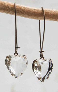 Crystal HEART EARRINGS Vintage Glass Jewel
