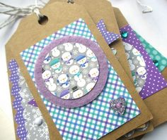 Christmas Tags, Frosty - set of 6 £3.50