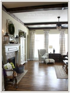 DIY Wood Beams for a cozy farmhouse feel.- From My Front Porch To Yours