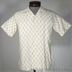 Vintage 50s Hathaway Yellow Dot Short Sleeve Shirt 100% Cotton Men's Size Medium