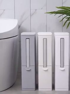 Creative Toilet Brush Multifunction Trash Can Storage - Multi-purpose bucket. Large capacity, Save a space. Removable and easy to clean. Built-in toilet br - Small Toilet Room, Toilet Room Decor, Can Storage, Storage Ideas, Toilet Brush, Bathroom Cleaning, Bathroom Interior, Bathroom Storage Boxes, Small Bathroom Organization