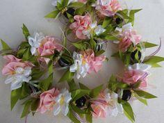 Kukui pink carnation ribbon lei by AlohaRibbonCrafts on Etsy