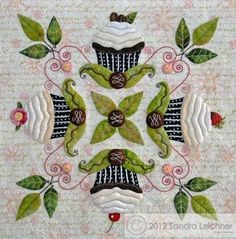 Would be fun to incorporate different images in a Baltimore Album style quilt. from cupcake Quilts (? Patchwork Quilting, Applique Quilts, Embroidery Applique, Hand Applique, Quilting Projects, Quilting Designs, Sewing Projects, Applique Patterns, Quilt Patterns