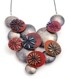 Ford and Forlano: Pillow Cascade, Necklace in polymer and sterling silver.