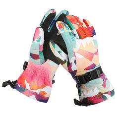 Gsou Snow winter ski gloves women leopard snowmobile snowboard gloves camping ladies mountain skiing gloves gants ski femme