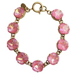 "Catherine Popesco 14k Gold Plated Crystal Round Bracelet, 7.25"" 1696G – Regencies"