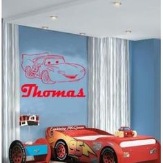 (LARGE) LIGHTNING MCQUEEN CARS & PERSONALISED NAME DISNEY BEDROOM VINYL WALL ART DECAL STICKER 14 COLOURS AVAILABLE: Amazon.co.uk: Kitchen & Home