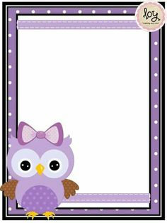 Cute Owl Cartoon, Ladybug Cartoon, Frame Border Design, Page Borders Design, Printable Lined Paper, Free Printable Stationery, Owl Theme Classroom, Owl Books, Pencil Design