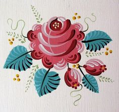 Rose Folk Art Print