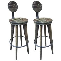 Pair of Modern Cerused Oak Stools