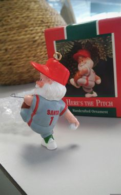 1989 Here's the Pitch - Hallmark Keepsake ornament, baseball pitcher Santa figurine, glove, uniform, hat, New with box, packaging, hook by royalcan1 on Etsy