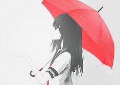 pretty anime with red umbrella