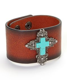 Look what I found on #zulily! Silver & Turquoise Antique Cross Bracelet by I Love Accessories #zulilyfinds