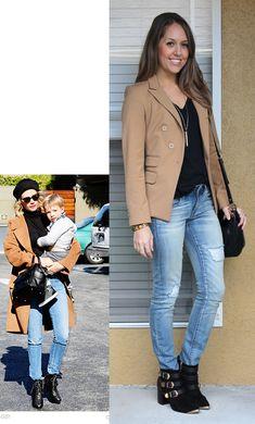 camel blazer + black + jeans via j's everyday fashion