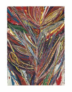 Mark Grotjahn (b. 1968)   Untitled (Standard Lotus No. II, Bird of Paradise, Tiger Mouth Face 44.01)  signed 'Grotjahn' (lower right); signed, again, titled and dated 'M Grotjahn 2012' (on the reverse)  oil on cardboard mounted on canvas   73 x 53¾ in. (185.4 x 136.5 cm.)   Painted in 2012.