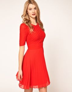 Shop Karen Millen Pintuck & Pleat Dress at ASOS. Order now with multiple payment and delivery options, including free and unlimited next day delivery (Ts&Cs apply). Karen Millen, Casual Dresses, Fashion Dresses, Beautiful Red Dresses, Formal Cocktail Dress, Date Night Dresses, Color Naranja, Mini Vestidos, Silk Dress