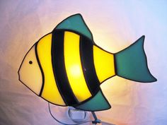 Angel Fish Stained Glass Night Light by HeirloomsbyTesa on Etsy, $35.00
