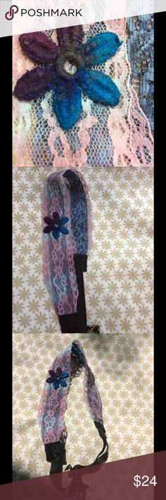 Tie dyed Headband Wrap Design Christmas Sale 🎄 Tie Dye flower detail and lace Headband a Wrap Design - lace width is 1 5/8 inches and lace length is 15 1/2 inches long and elastic length is 6 1/2 inches long that creates a total circumstance 21 inches so it fits comfortably . Created the design by hand painted elastic lace blue then tie dyed blue lace purple then attached the lace to the elastic lace then hand painted flower - blue, purple then attached to lace - one of a kind design…