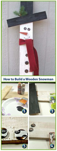 We love easy DIY home decor projects that don't require a lot of time.  All you need are a few supplies and Glue Dots Advanced Strength adhesive to make this adorable wooden snowman for your home. #GlueDots