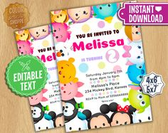 Tsum Tsum Invitation  EDITABLE TEXT  Disney by ColorPrintsShoppe
