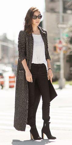 Jayne Min in TriBeCa, street style, full-length coat / Garance Doré