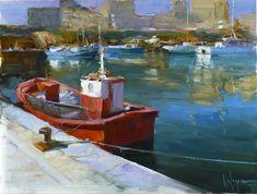 PORT AT COSTA DEL MARESME/2, 46x61 cm, oil on canvas, artist Vladimir Volegov