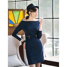 TS Zipper Decor Waist Jersey Dress – USD $ 31.49