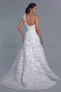 Tulle One-shoulder Sweetheart Side Draped Bodice A-line Wedding Dress