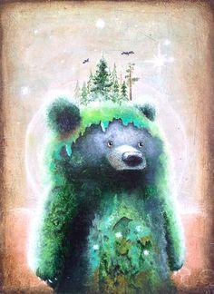 Bear tirage d'Art - Art de l'arbre sticker Deco - Nature Print - ours pour enfants - lunatique - - Bear Estampe - Art surréaliste - Art lunatique