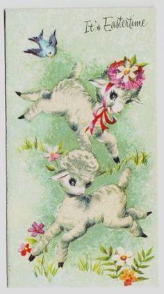Vintage Easter Lambs Greeting Card