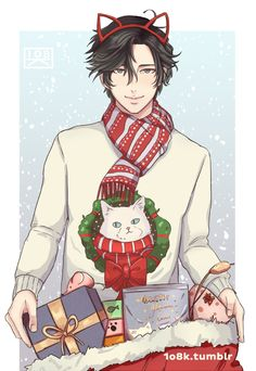 I had this idea of Jumin going to a cat shelter to deliver tons of gifts thanks to the new update and its festive art so I just had to draw it basically ;;