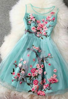 Handmade Embroidery Flower Organza Party Dress only $56.99