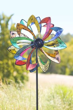 Solar LED Flower Wind Spinner, Metal, Multicolored, 21 1/2 in dia. x 11 1/2 in D x 75 in H