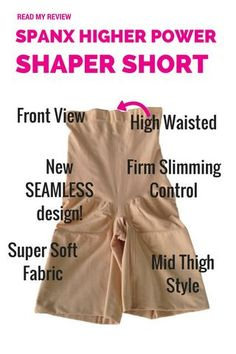 Read my SHAPEWEAR REVIEW of the Spanx Higher Power High Waisted Shaper Short SPX 2745 - the BEST SELLING SPANX! FIRM slimming control. SEAMLESS new design. Ultra soft fabric. SHAPES the bottom. SPANX | SHAPEWEAR | HIGHER POWER | BODY SHAPER | SLIMMING SHORTS