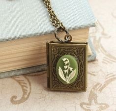 Lily of the Valley, Book Locket Necklace, Antique Brass, Etched Brass Locket, Secret Hiding Place, Photo Keepsake, Storybook Pendant