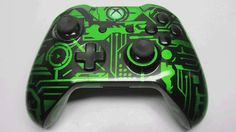 Green Tron style Custom Xbox One Controller #GameAssault @GameAssault1000 http://www.gameassault1000.com #gaming #Xbox #one
