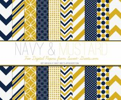 Free digital paper set in mustard and navy
