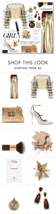 """Lady In Gold"" by delunaray ❤ liked on Polyvore featuring Philipp Plein, HUISHAN ZHANG, Dolce&Gabbana, Malone Souliers, Murphy, Bobbi Brown Cosmetics, Dogeared, Shishi, Kendra Scott and MAC Cosmetics"