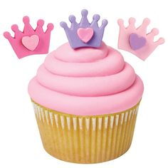 Crown with Heart Royal Icing Decorations | 12ct