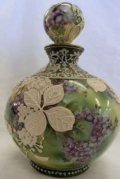 pottery & porcelain, Japan, A Nippon [porcelain] Moriage perfume bottle with birds, [ball stopper], GWM [Green Wreath Mark].