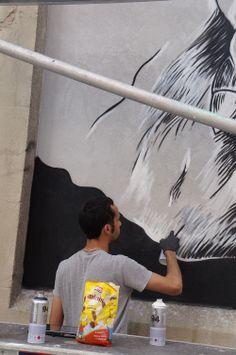 """Pedro Sega en el Proyecto """"Muros"""".#ArteTabacalera Promoción del Arte #ArteUrbano #StreetArt Madrid.Día4 #Arterecord 2014"""
